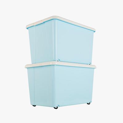当当优品 加厚滑轮整理箱 蓝色 50L 2个装 64元包邮