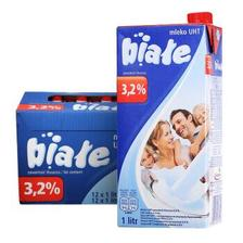 Biale 高温灭菌全脂牛奶 1L*12盒 85元,满2件7.5折