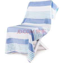 ¥15 三利 纯棉纱布浴巾 A类标准 70×140cm 青蓝条纹