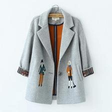 当当网商城 YANWO 女装刺绣毛呢大衣外套61.2元包邮 已降77.8元