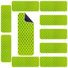 3M 钻石级反光警示磁力贴 荧光黄绿色磁性车贴3x8cm(10片) 汽车自行车电动车
