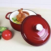 $27.99 (原价$99.91) 近期好价 Utopia kitchen 红色搪瓷铸铁锅 3.2夸脱
