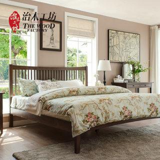 橡木床双人床1.5米床 1.8米 简约现代纯实木双人床环保储物高箱床 1671元