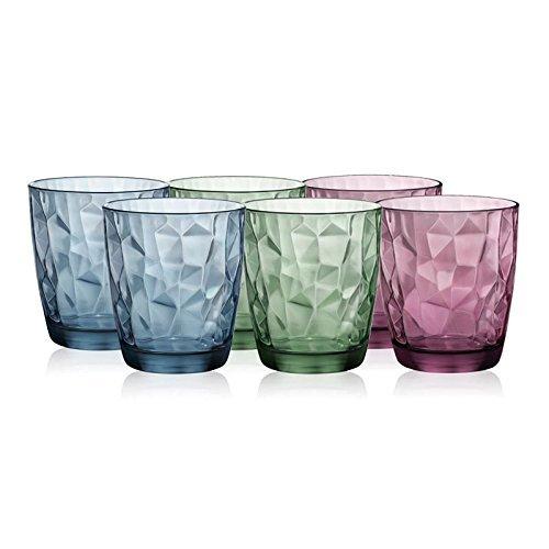 Bormioli波米欧利 意大利进口钻石系列玻璃杯炫彩六只装390ml 3.0225789S6(2紫+2蓝+2绿) 129元