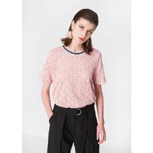 C&A罗纹圆领短袖T恤女 2018夏季新款蕾丝上衣CA200209848-PL 79元