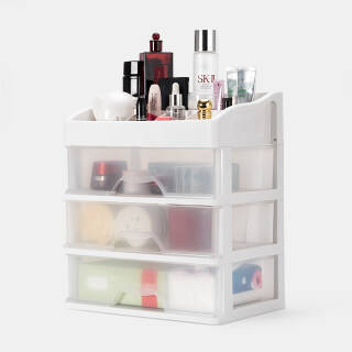 FOOJO透明3层抽屉式桌面收纳盒办公化妆品首饰收纳整理盒梳妆台(大号) *2件 129元(合64.5元/件)