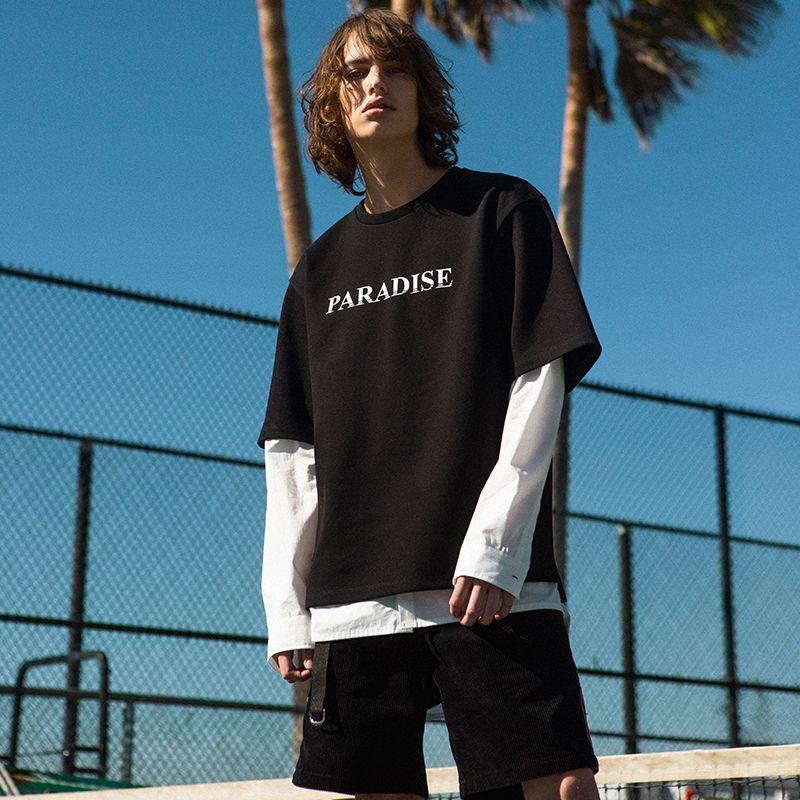 ¥89 ANDERSSONBELL中性款男女同款凯恩宽松版皮克圆领短袖T恤