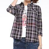 ¥49 波尼PONY 女子 PONY VINTAGE 中袖格纹衬衫 921W2F52BK S码