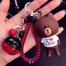 汽车用品编织钥匙链男士创意女士款熊铃铛汽车钥匙扣包包挂件券后 6.8元