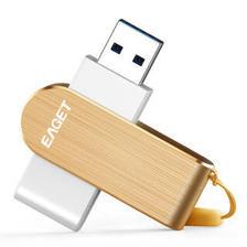 忆捷(EAGET)F50 USB3.0高速情侣金属U盘256G 360度旋转款金色 293元