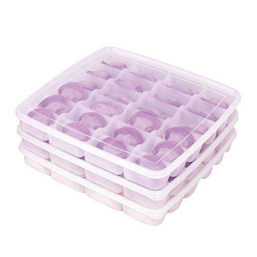 宝优妮 饺子盒冰箱水饺保鲜盒带盖厨房馄饨盒冷冻保鲜盒24格带盖 3只装49元