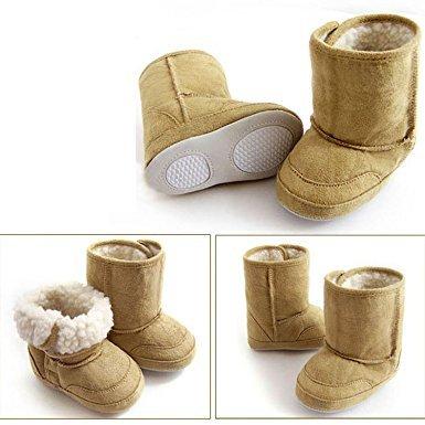 婴儿幼儿0–12个月学步鞋可爱温暖冬季雪地靴 棕色 9-12 Month 20.53元