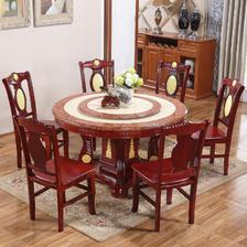 鸿达百木 实木大理石餐桌椅组合 一桌六椅 1.3米 2380元包邮(下单立减)