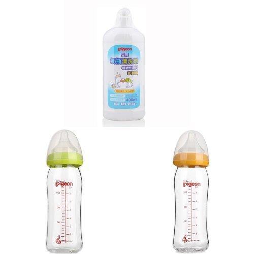 PIGEON 贝亲 宽口玻璃 奶瓶+奶瓶清洁剂套装(240ml奶瓶2个+清洁剂400ML)