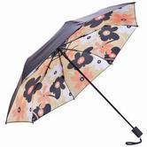 天堂伞 全遮光黑胶转印水木清华三折小黑伞晴雨伞太阳伞 米黄 30608DLCJ 109元