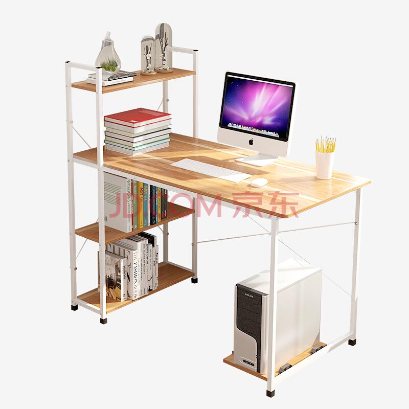 朗程 电脑桌 台式书桌学习桌办公桌子 B217B 带书架¥99
