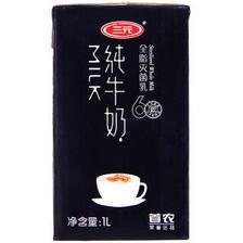 三元 纯牛奶 全脂灭菌乳(醇厚黑色版)1L*12盒/箱 *2件 152.6元(合76.3元/件)