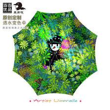 ¥119 当当优品艺术家限量定制款创意黑胶遮阳超轻两用三折晴雨伞鸟少年系
