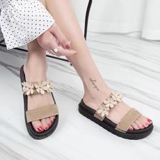 ¥29.9 凉鞋女沙滩厚底花朵凉拖