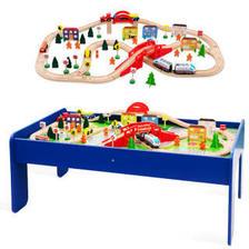 Kidus 木质火车轨道套装玩具积木和谐号 90PCS木质轨道+游戏桌 268元