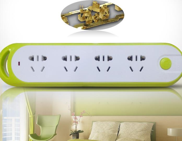 ¥9.9 德力西 电源插座 拼色系列排插带总开关电源插线板 二位五孔+一位二孔 1.8米