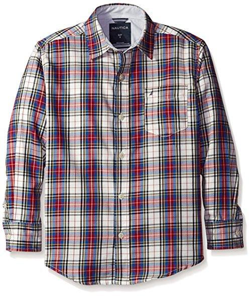 Nautica 男童 LOFT 格子长袖梭织衬衫 39.45元