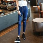 ¥29.9 依美莎 2017韩版女装秋季 九分裤修身破洞小脚铅笔裤