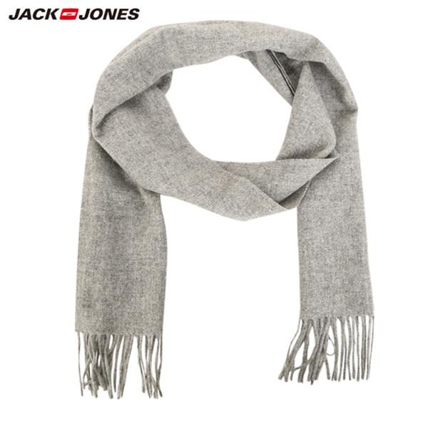 简约纯色!杰克琼斯男装冬季纯羊毛流苏纯色简约长围巾 聚划算特价149.5元包邮