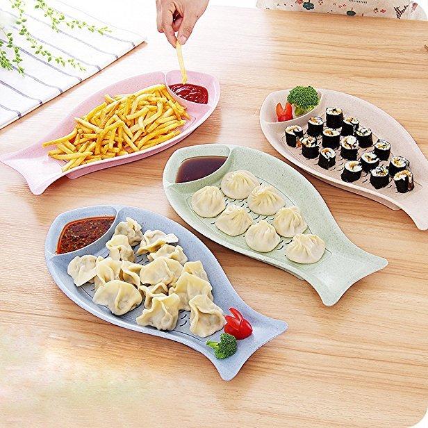 莱朗 创意鱼形带醋碟饺子盘 小麦秸秆饺子盘多用途可沥水水饺盘子 *4件 49.9元(合12.48元/件)
