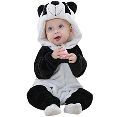 luversco 幼儿新生婴儿男童女童熊猫卡通连帽 rompers 服装衣服 68.08元