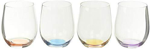 Riedel 礼铎 O Wine Tumbler Happy O Vol 2 蓝/紫/红/橙 机器制水晶玻璃平底酒杯 4只装 320ml 125.22元