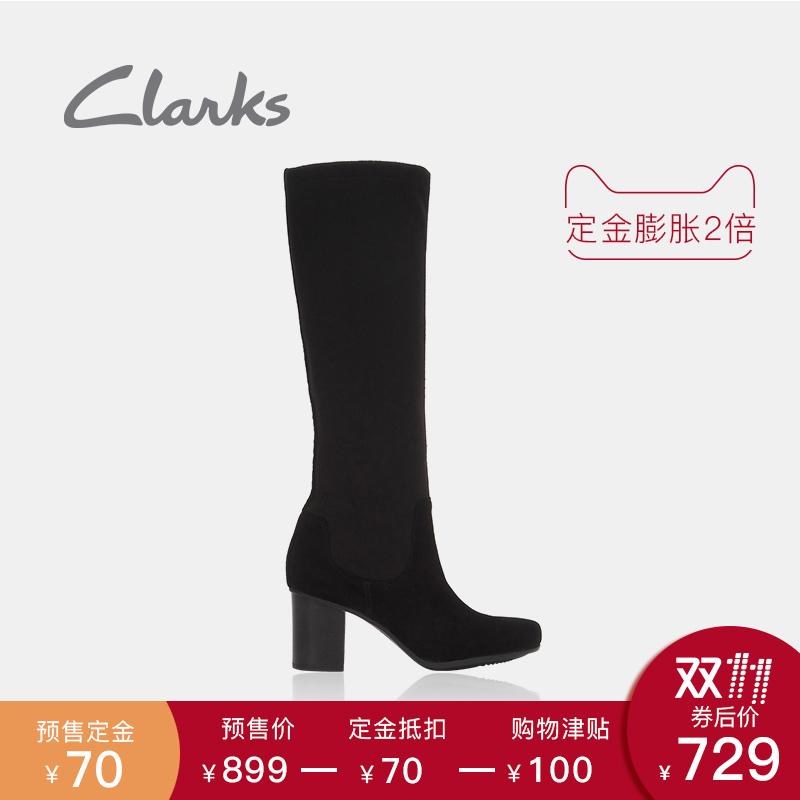 clarks其乐女鞋粗跟秋单靴袜靴17秋冬新款Kensett Daphne 899元