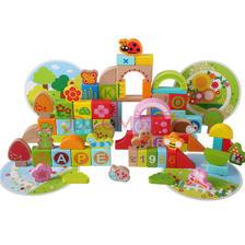 德国Hape 80粒花园积木E8312 益智启智榉木1岁以上 圆筒送礼木制玩具 可399-200 8