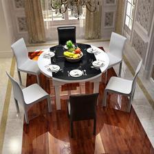 ¥1799 优涵家具黑白智能餐桌椅组合1801(一桌6椅子单桌不带电池炉)团购价格-