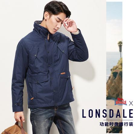 龙狮戴尔(LONSDALE) 男加绒加厚三合一可拆卸冲锋衣2件套 ¥329