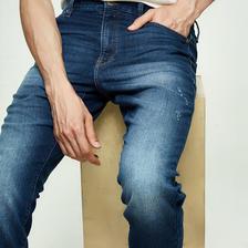 网易严选 男式仿弹力针织修身牛仔裤 2色 ¥179