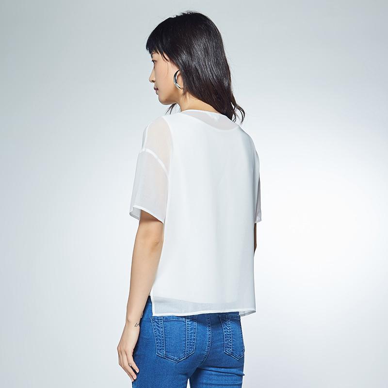 艾格LACOLLECTION 2018夏新品纯色常规适中T恤女8E012805886 319元