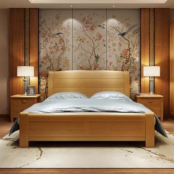 美天乐 榉木实木双人床 框架款 180*200cm ¥1769